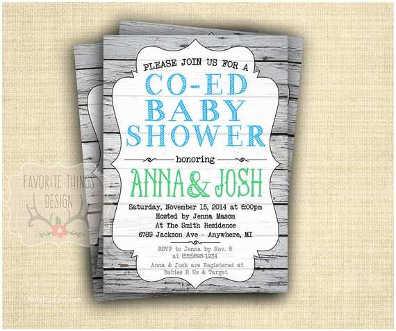 Coed Baby Shower Invitations Co Ed Baby Shower Invitation Coed Baby Shower Invite Green