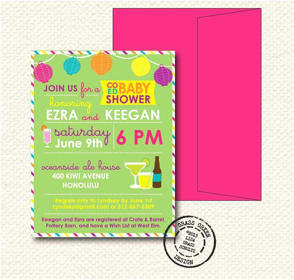 Coed Baby Shower Invitations Coed Baby Shower Invitation 15 Custom Invitations with