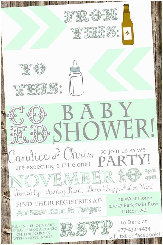 Coed Baby Shower Invitations Coed Baby Shower Invitation From Beer Bottle to Baby Bottle