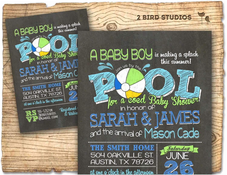 Coed Baby Shower Invitations Coed Baby Shower Invitation Summer Baby Shower Pool