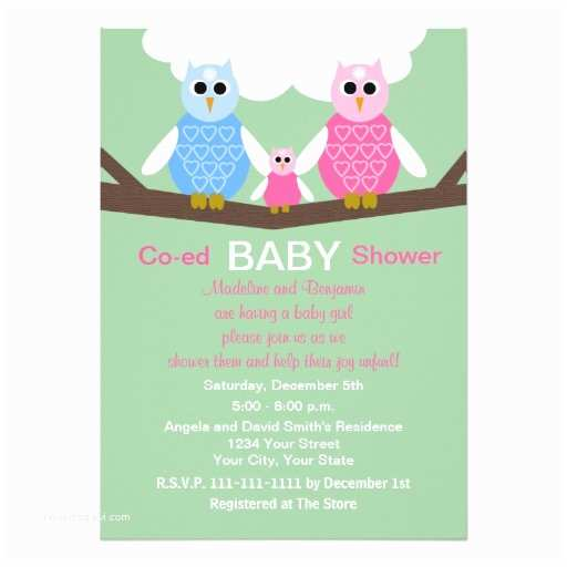 couples coed girl baby shower invitation owls