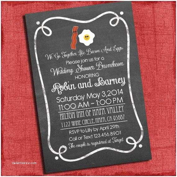 bacon and eggs couplescoed wedding shower or wedding shower bruncheon invitation printable invite