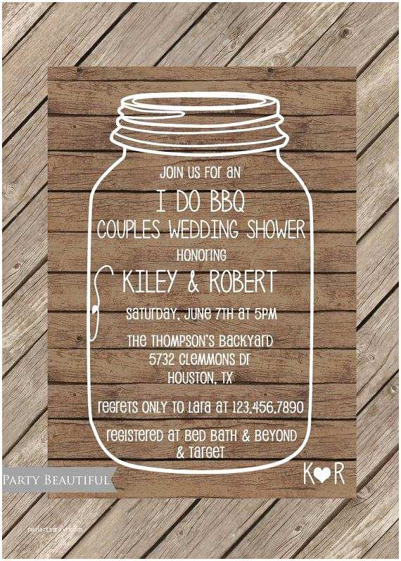 Coed Wedding Shower Invitations Couples Coed Wedding Shower Invitation Rustic I Do Bbq