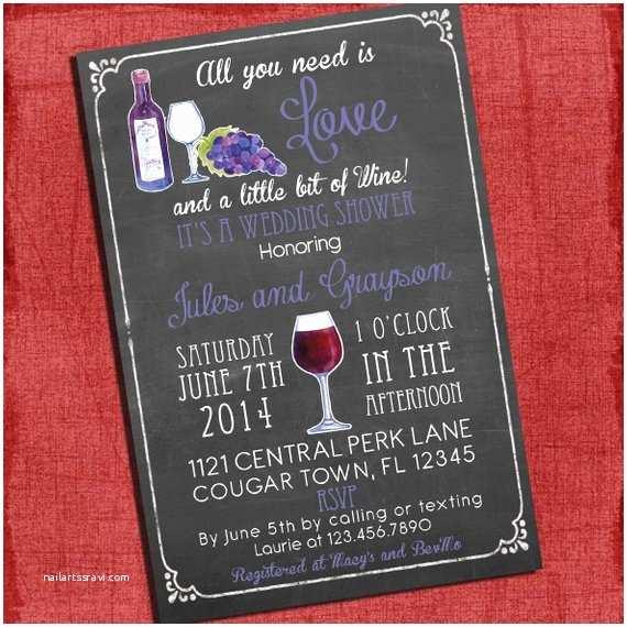 Coed Wedding Shower Invitations Printable Wine theme Couples Coed Wedding Shower Invitation I