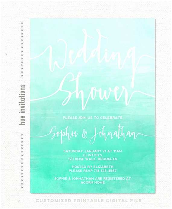 Coed Wedding Shower Invitations Wedding Shower Invitation Mint Turquoise Ombre Watercolor