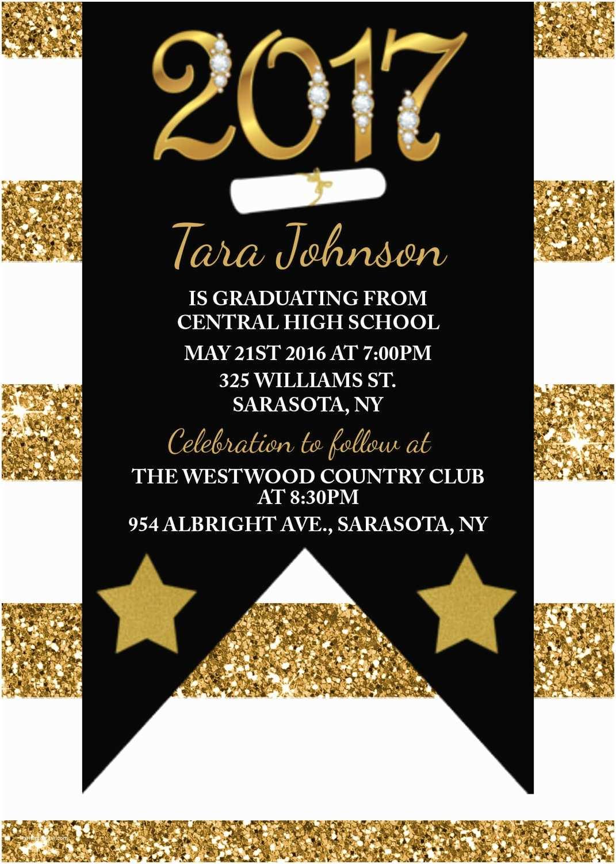 Black And Gold Graduation Invitations