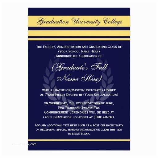 "College Graduation Invitations formal College Graduation Announcements Blue 5"" X 7"