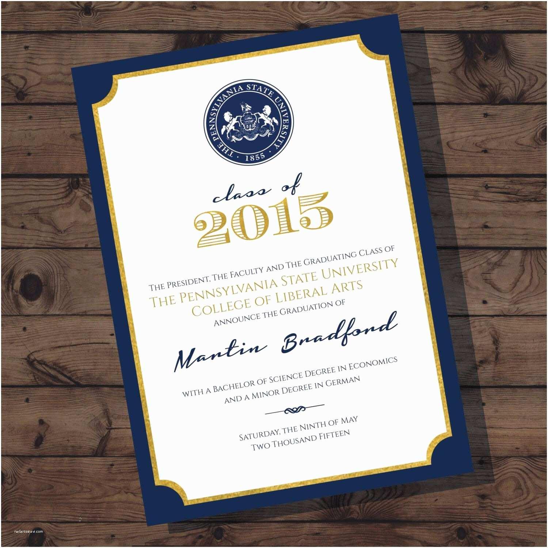 College Graduation Invitations Penn State Graduation Announcement