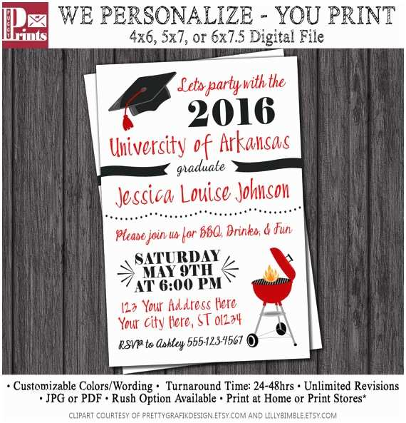 College Graduation Party Invitation Wording Bbq Graduation Party Invitation Any University or College
