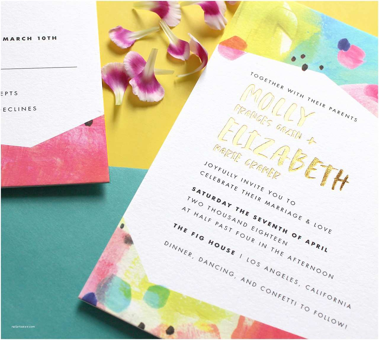 Colorful Wedding Invitations Bright and Colorful Modern Wedding Invitations