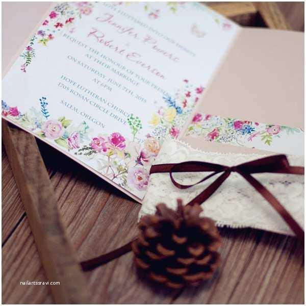 Colorful Wedding Invitations Cheap Elegant Colorful Flowers Lace Pocket Wedding