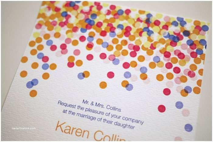 colorful confetti wedding invitation printable