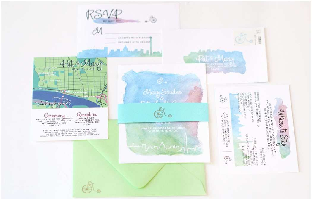 Colorful Wedding Invitations Colorful Modern Bicycle Wedding Invitation • Aqua Juel Design