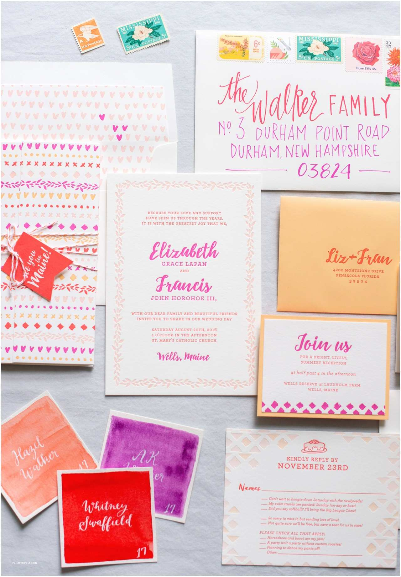 Colorful Wedding Invitations Colorful Patterned Letterpress Wedding Invitations