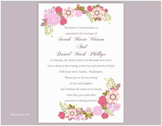 Colorful Wedding Invitations Diy Wedding Invitation Template Editable Word File Instant