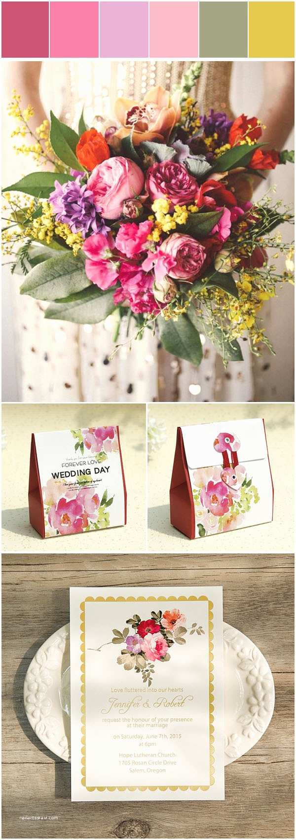 Colorful Wedding Invitations Five Pretty Summer Wedding Colors In Shade Gold with
