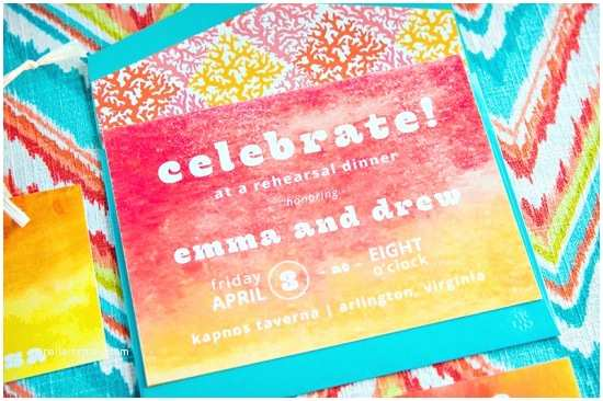 Colorful Wedding Invitations Greece Inspired Colorful Wedding Rehearsal Dinner