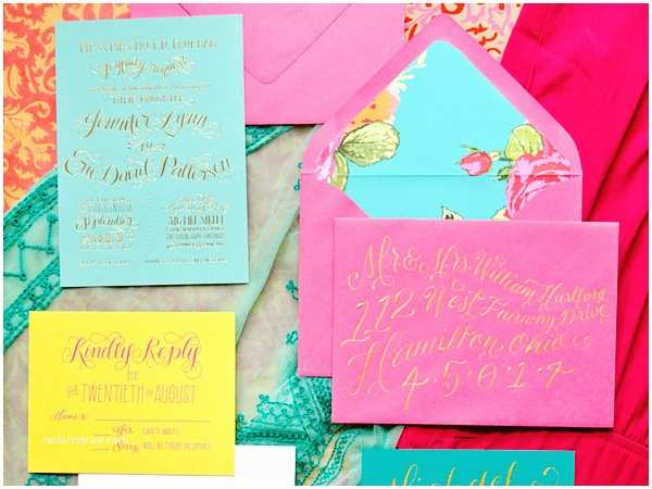 Colorful Wedding Invitations Jennifer Eric S Colorful Gold Foil Calligraphy Wedding