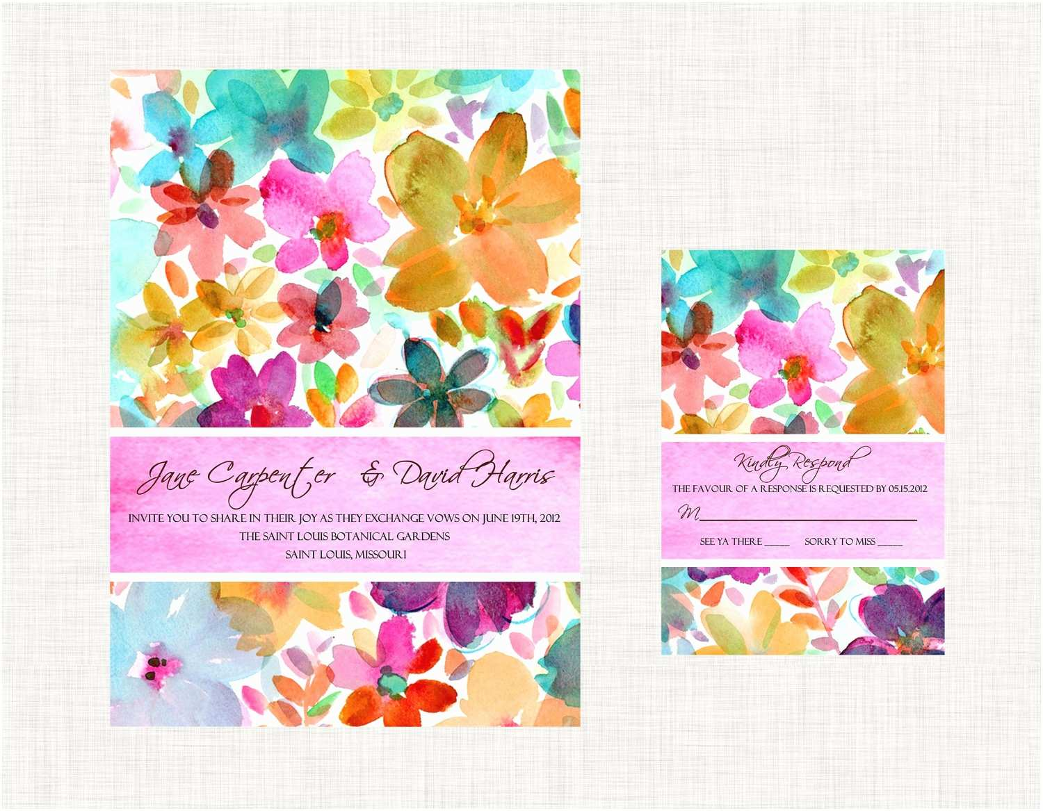 Colorful Wedding Invitations Watercolor Wedding Inspiration Bright Wedding Invitations