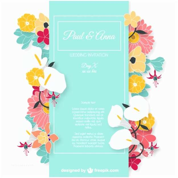 Colorful Wedding Invitations Wedding Invitation Card with Colorful Flowers Vector