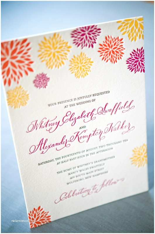 Colorful Wedding Invitations Whitney A K S Colorful Letterpress Wedding Invitations