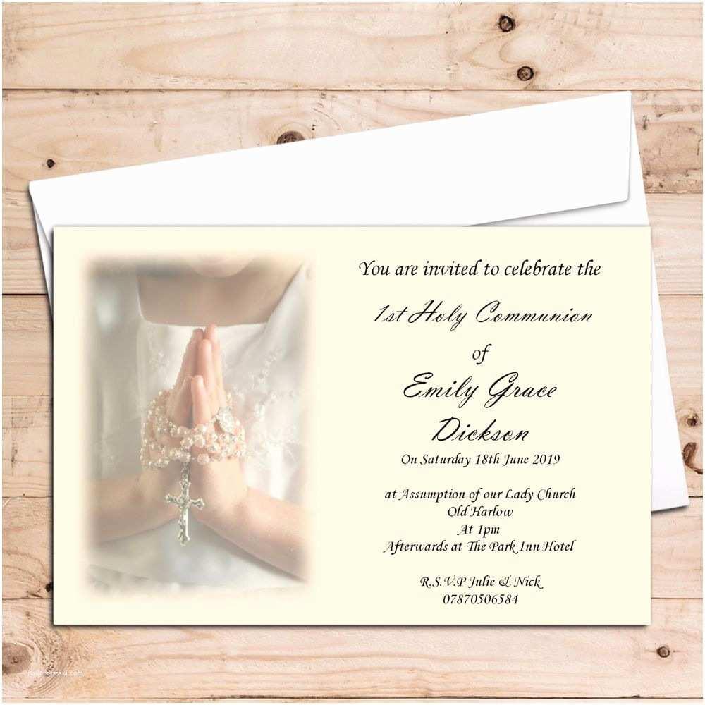 Communion Invitation Wording 10 Girls 1st First Holy Munion Invitations Invites