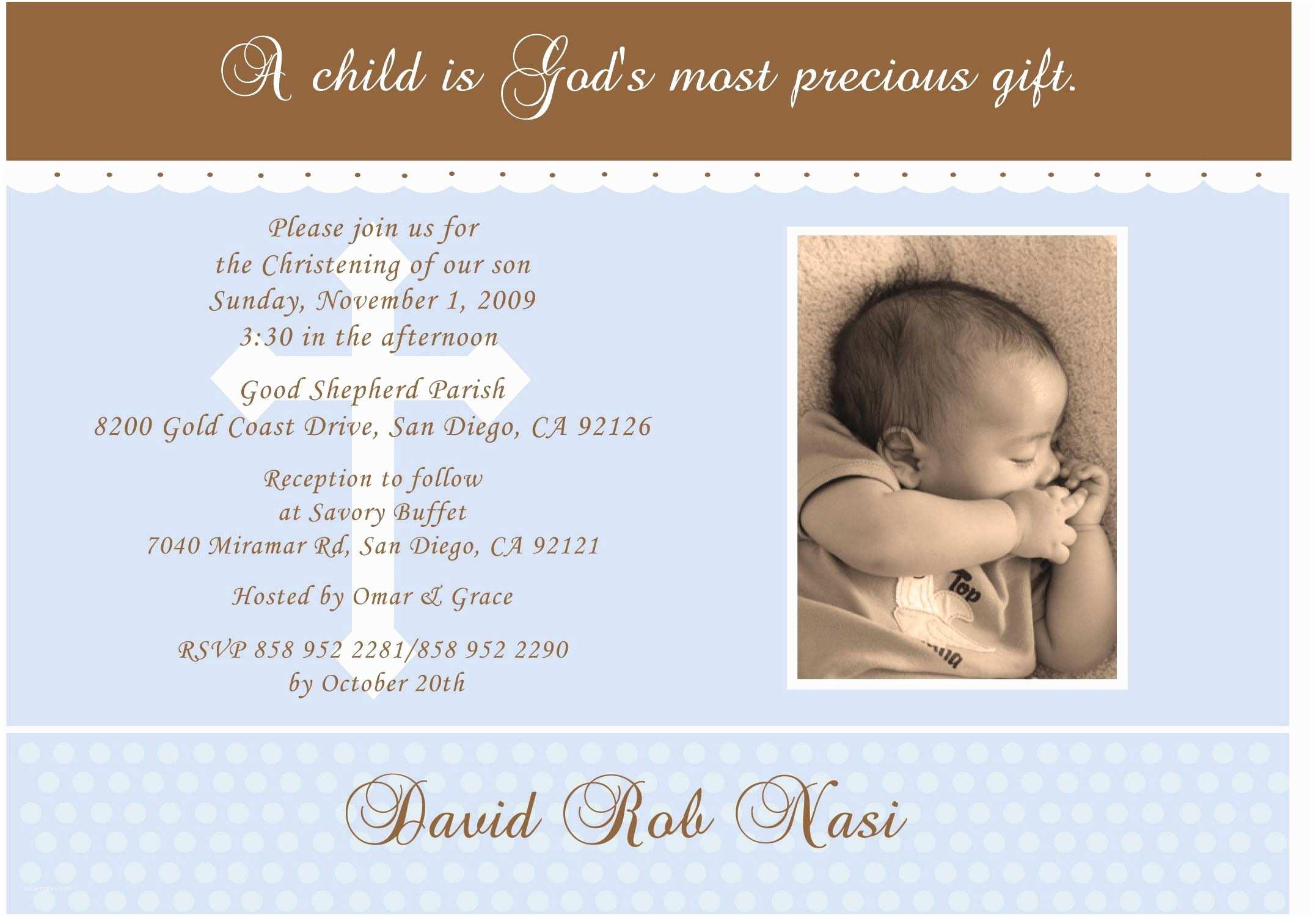 Communion Invitation Wording Baby Shower Catholic Baptism Invitations Card