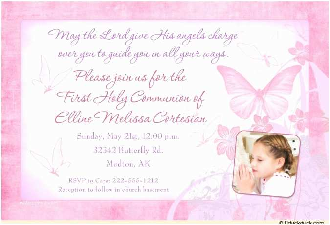 Communion Invitation Wording Spring butterfly Holy Munion Card Daughter Beautiful