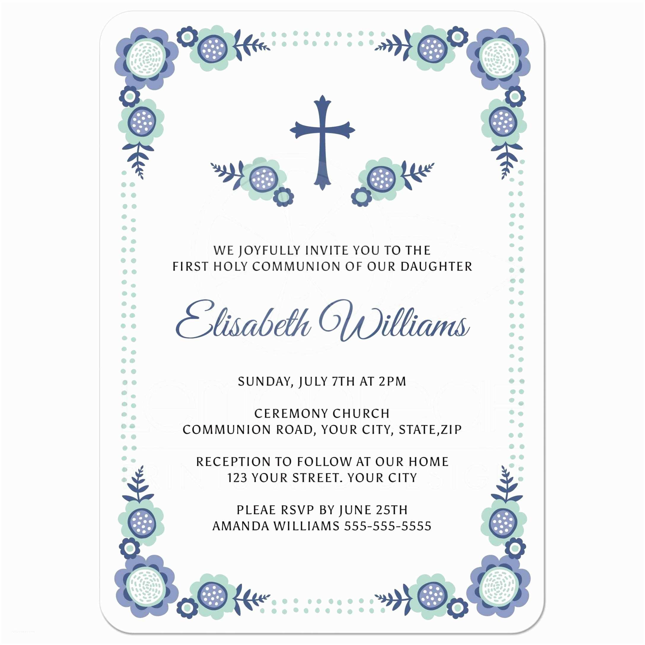 Communion Invitations Blue Bloom First Holy Munion Invitation with Cute