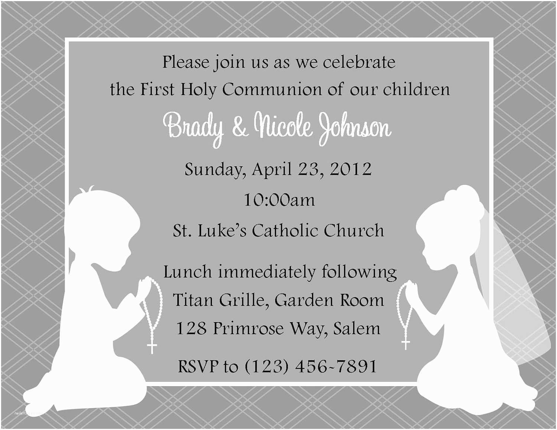 Communion Invitations First Munion Invitation Twins Digital File Twin