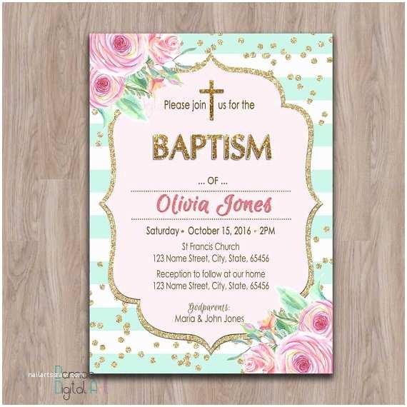 Communion Invitations for Girl Baptism Invitation Girl Printable Girl Baptism Invitation
