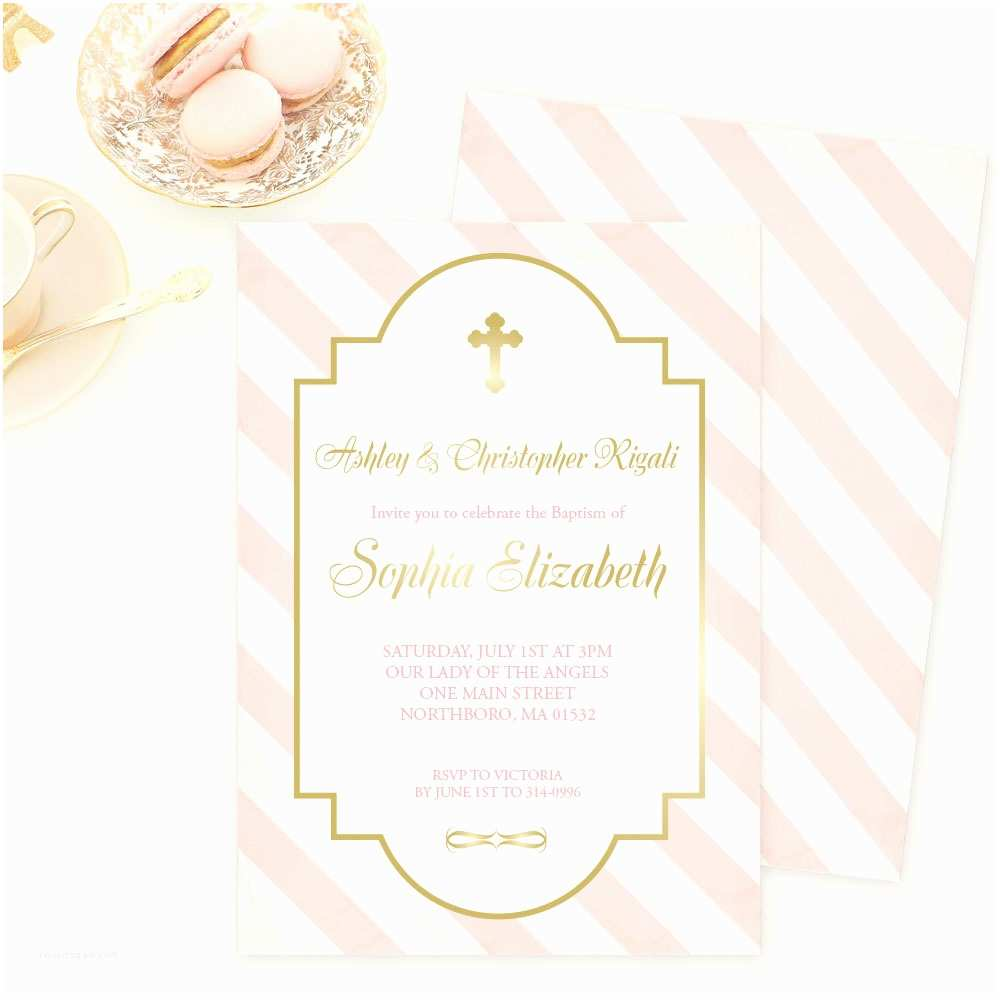 Communion Invitations for Girl Baptism Invitation Pink and Gold Confirmation Holy First