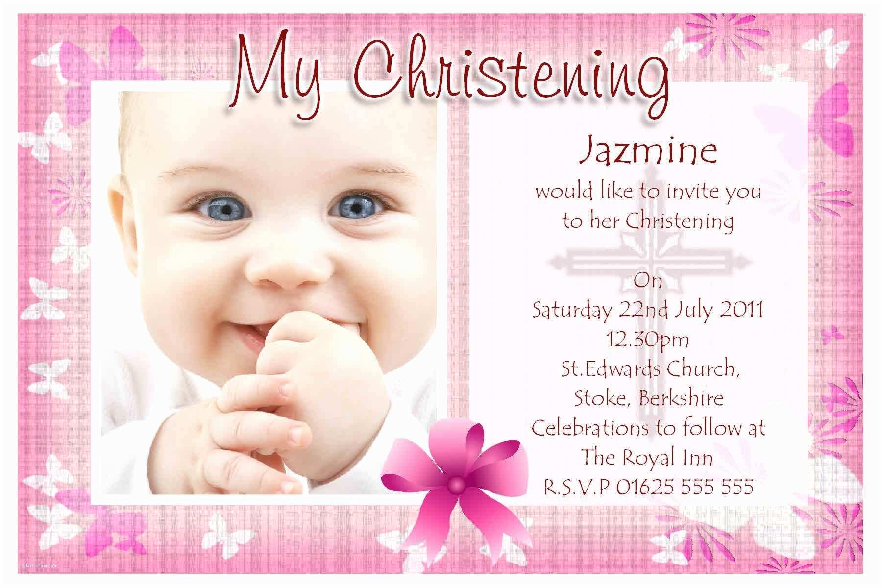 Communion Invitations for Girl Baptism Invitations Free Baptism Invitation Template