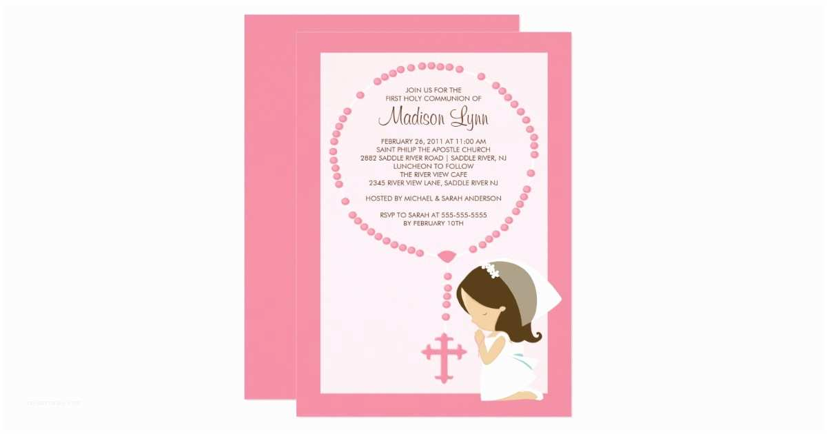 Communion Invitations for Girl Cute Rosary First Munion Invitation Girl Pink