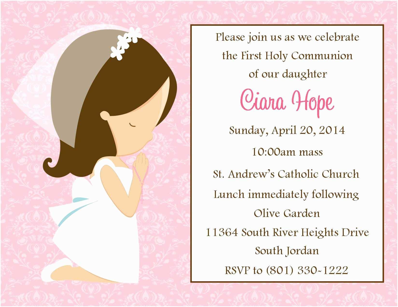 Communion Invitations for Girl First Munion Invitation Girl Digital File