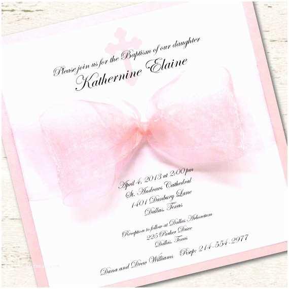 Communion Invitations for Girl Girl Baptism Invitation Christening Pink Ribbon
