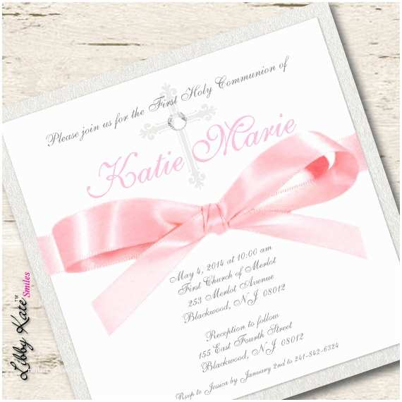 Communion Invitations for Girl Girl First Munion Invitation Pink and Gold