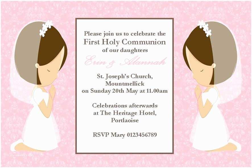 Communion Invitations Personalised First Munion Invitations Daughter Girl Twins