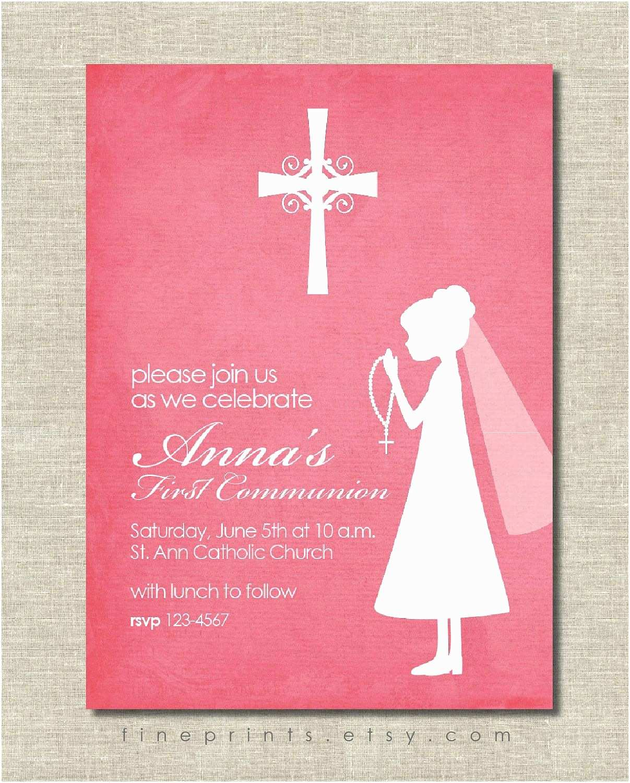 Communion Invitations Pink First Munion Silhouette Invitation for Girl $15