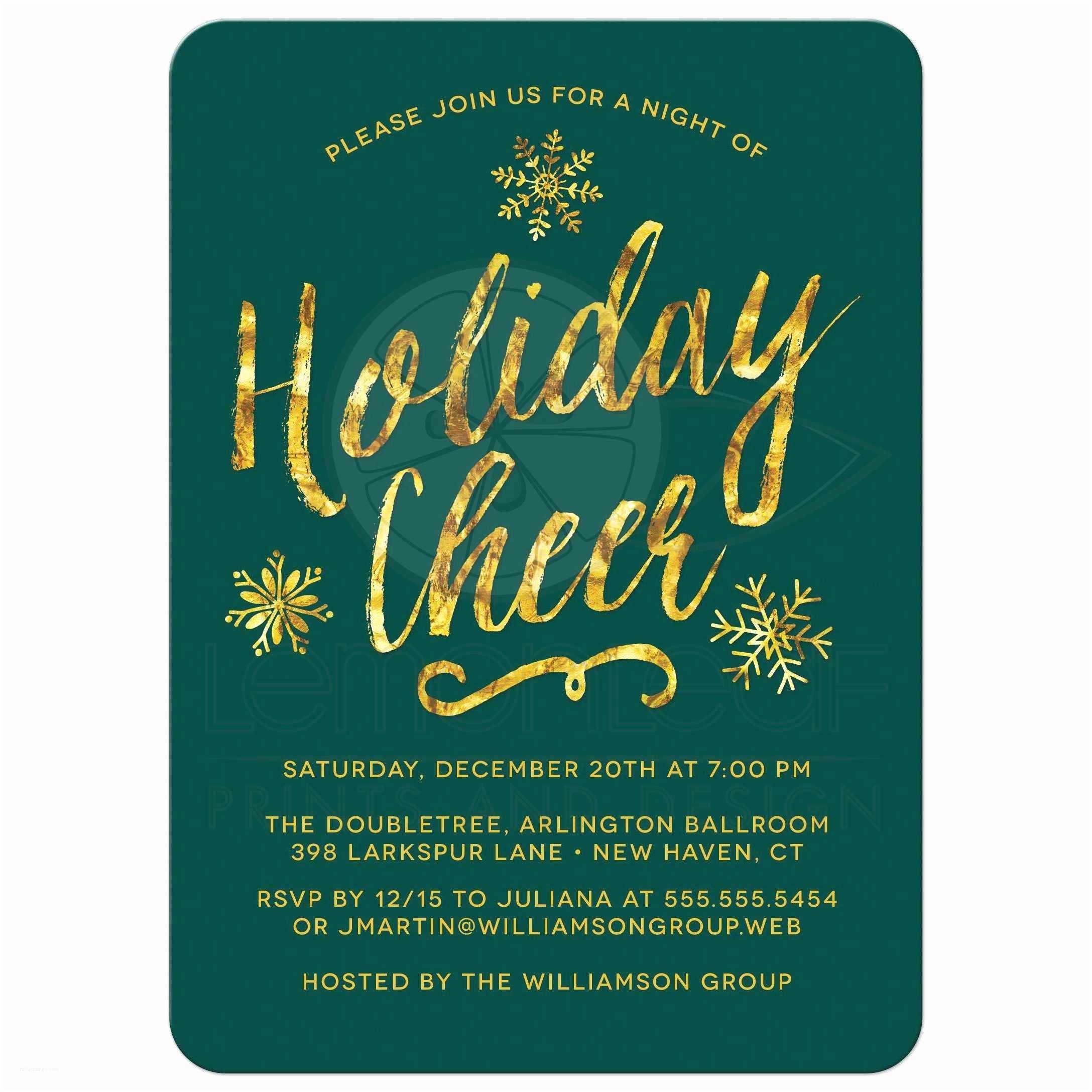 Company Christmas Party Invitations Corporate Holiday Party Invitations Golden Holiday Cheer