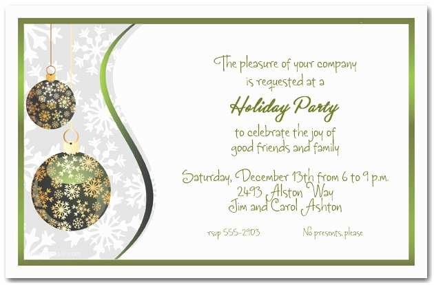 Company Christmas Party Invitations Green & Gold Snowflake ornaments Holiday Invitations
