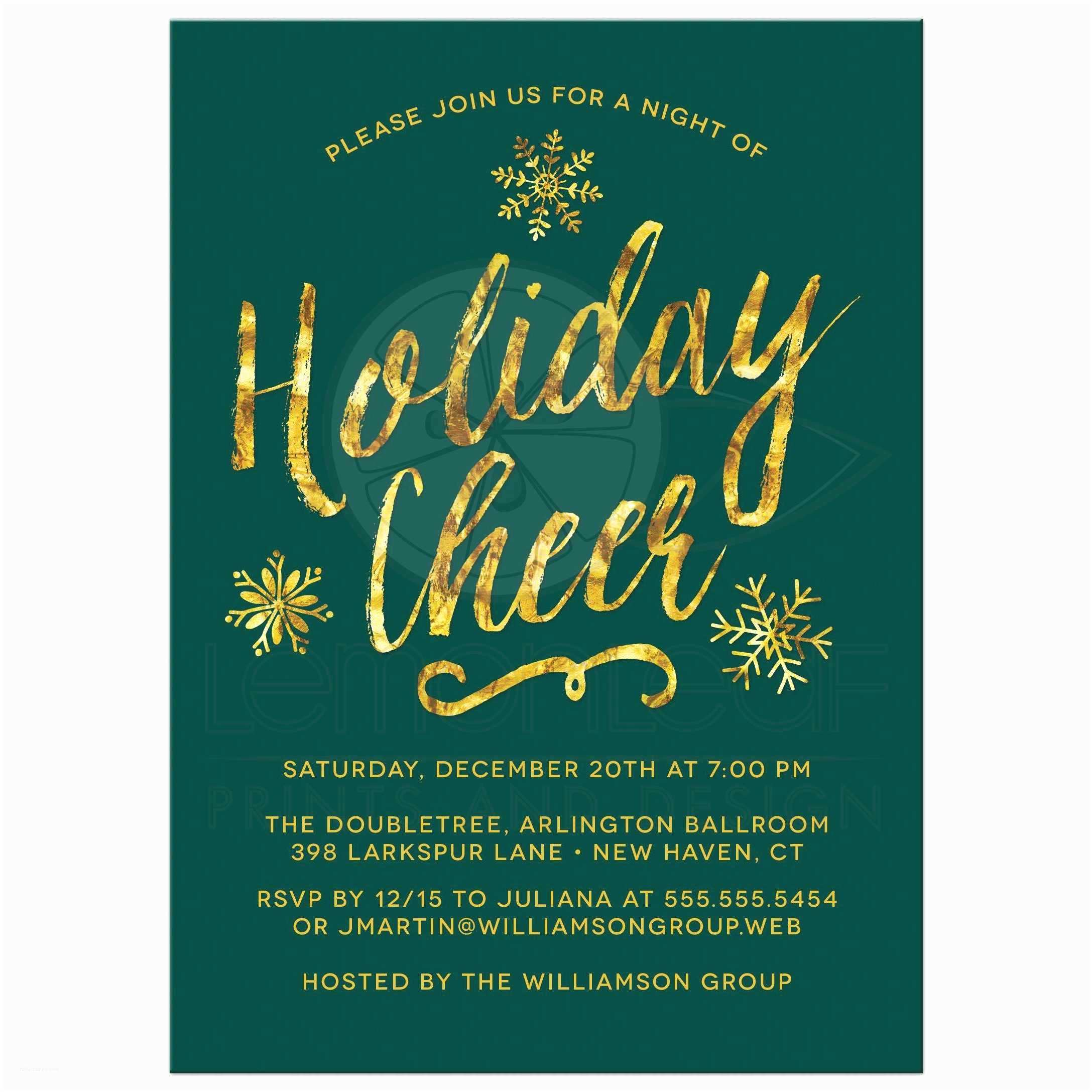Company Holiday Party Invitation Corporate Holiday Party Invitations Golden Holiday Cheer