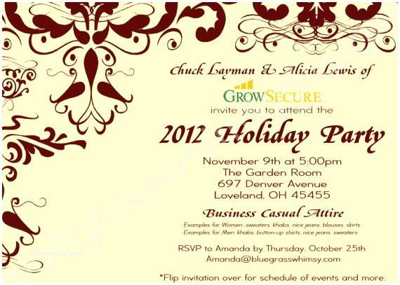 Company Holiday Party Invitation Custom Corporate Holiday Party Invitation W Crimson Flourish