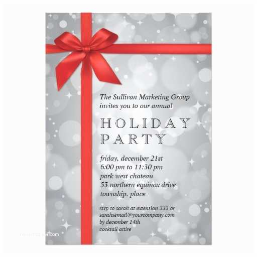 Company Holiday Party Invitation Wrapped Silver Glow Corporate Holiday Party Personalized