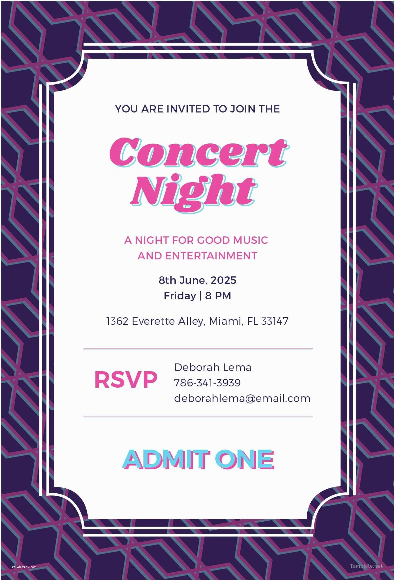 Concert Ticket Wedding Invitation attractive Concert Ticket Invitations Template