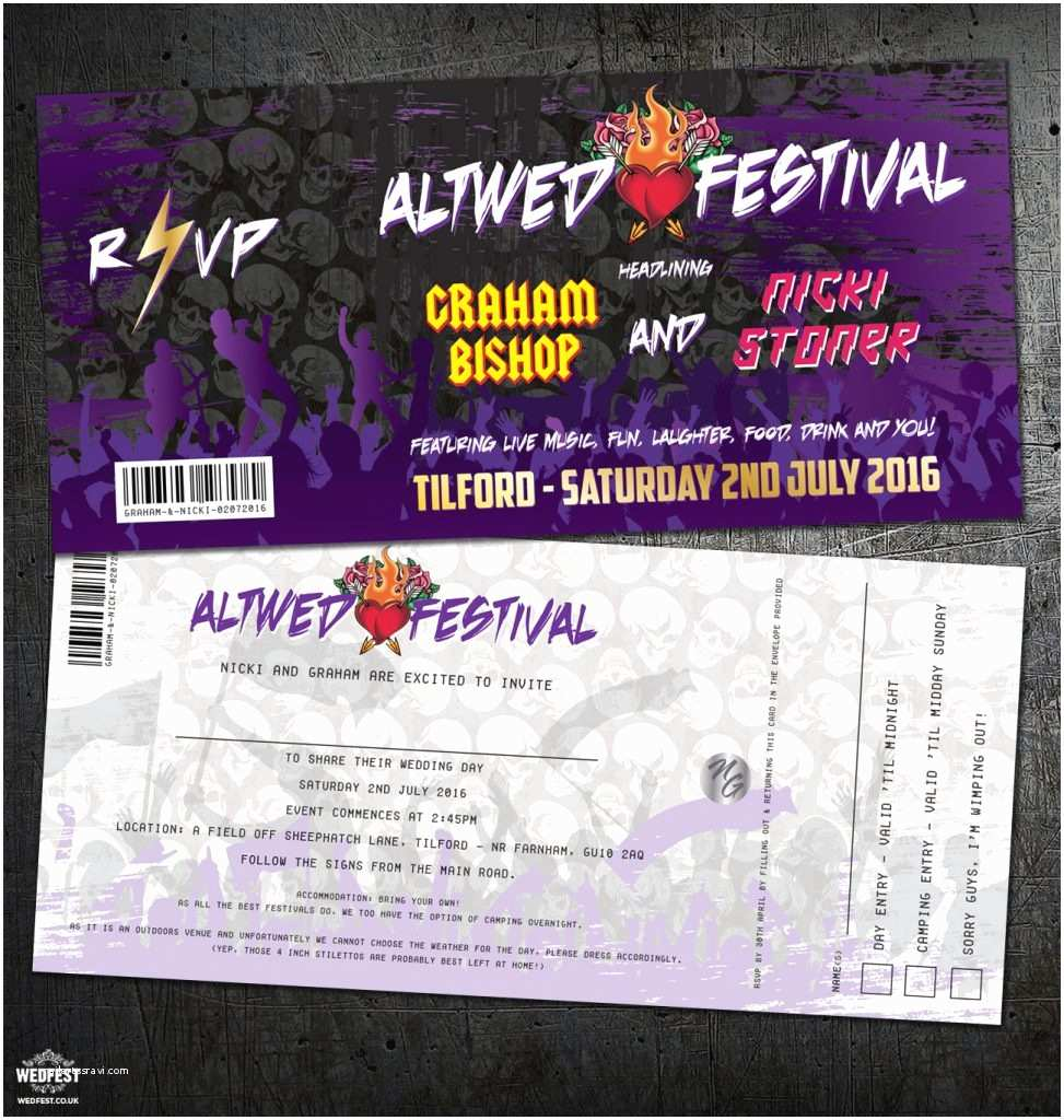 Concert Ticket Wedding Invitation Heavy Metal Festival Rock and Roll Concert Wedding