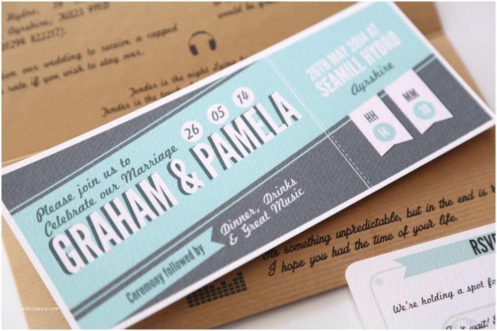 Concert Ticket Wedding Invitation Music Lovers Concert Ticket Wedding Invitation Vintage