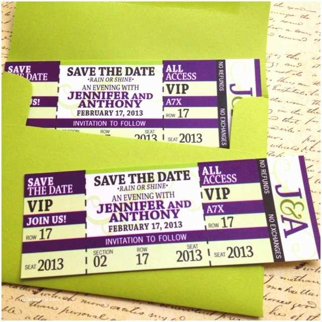 Concert Ticket Wedding Invitation Save The Date
