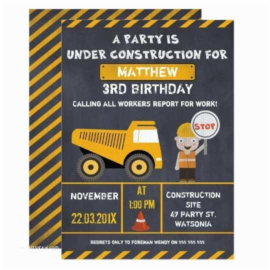 Construction Birthday Invitations Chalkboard Construction Birthday Party Invitation