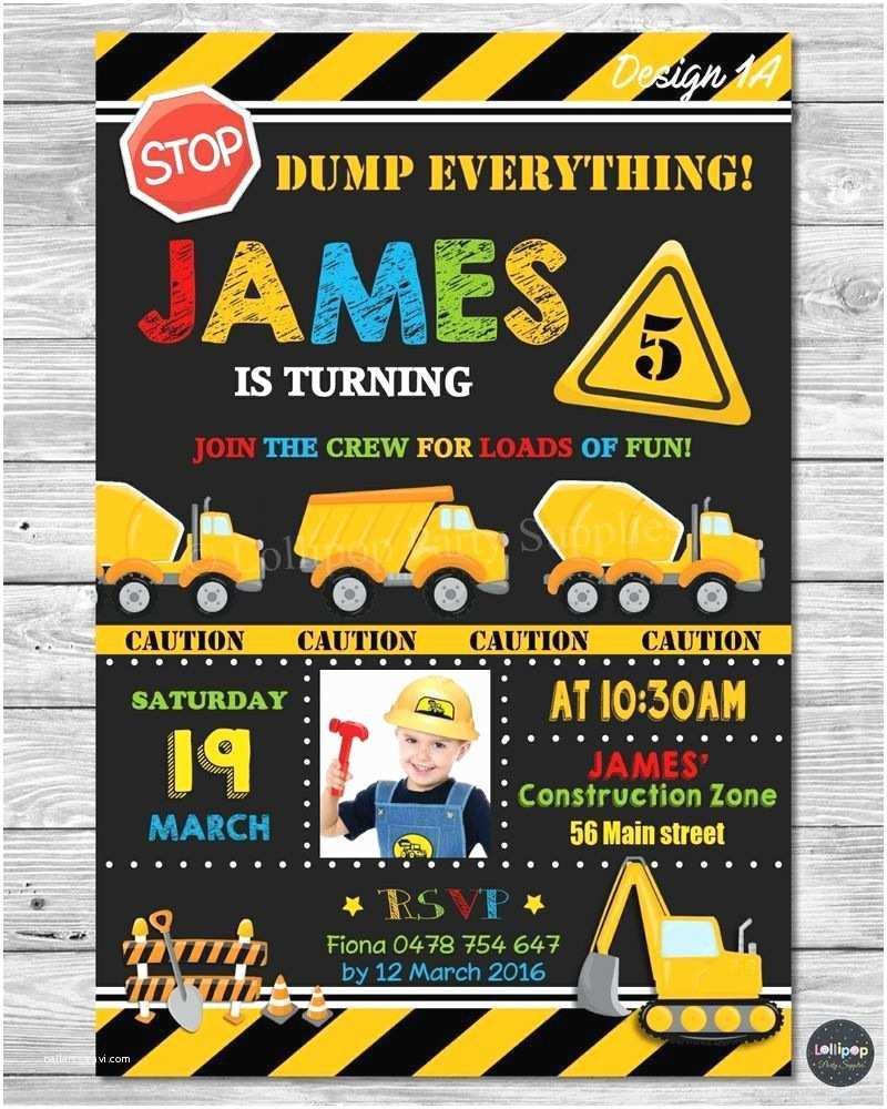 Construction Birthday Invitations Construction Invitation Invite Card Birthday Party